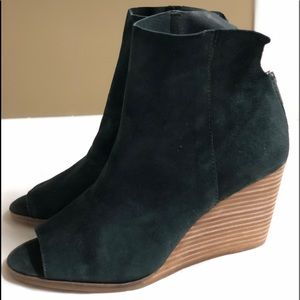 Lucky brand black suede leather wedge booties 9.5